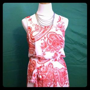 Red and white spring dress with silver accents